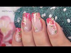 "Nailart ""Golden Glow"" mit Jolifin Farbgel charming raspberry - YouTube"
