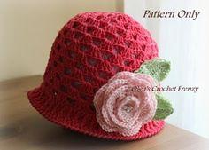 Girl's Summer Hat Crochet Pattern, Size 3-5 Years Old, $3.25
