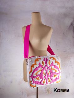 handmade khaymia (hand-sewn) laptop bag with colorful Islamic patterns  made by Karma from Egypt
