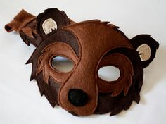 Brown Bear Woodland Mask and Tail for Pretend by HuntingFaeries Felted Wool Crafts, Felt Crafts, Black Bear, Brown Bear, Bear Diet, Diy Pour Enfants, Bear Mask, Bear Costume, Cosplay Diy