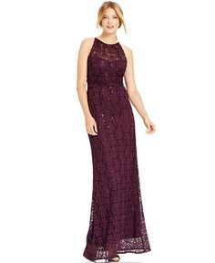 R&M Richards Floral-Lace Sequin Petite Gown - Dresses - Women - Macy's