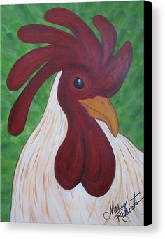Folk Art Chicken Canvas Prints - Keeping Watch II Canvas Painting by Molly Roberts Chicken Painting, Chicken Art, Chicken Houses, Rooster Painting, Rooster Art, Canvas Art, Canvas Prints, Chickens And Roosters, Galo