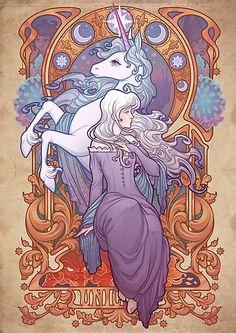 'Lady Amalthea - The Last Unicorn' Art Print by Medusa Dollmaker Fantasy Magic, Unicorn Fantasy, Unicorn Art, The Unicorn, Unicorn Drawing, Art And Illustration, Unicorn Illustration, Illustrations, Fantasy Kunst