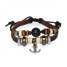 Bling Jewelry Nautical Anchor Leather Wrap Surfer Bracelet Black Cats Eye Bead