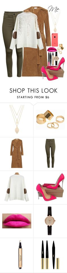 """""""Untitled #472"""" by atmakaur ❤ liked on Polyvore featuring Forever 21, Pieces, Frame Denim, H&M, Christian Louboutin, Barbour, Yves Saint Laurent and NARS Cosmetics"""