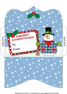 Snowman Money Wallet on Craftsuprint designed by Eva Cano - Money wallet featuring my cute Snowman in a tartan waistcoat for Christmas occasions. Available in other colours. Please have a look at my other designs by clicking on my name.  - Now available for download!