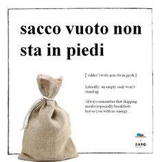 Learning Italian Language ~ Learn with sacco vuoto no sta in piedi