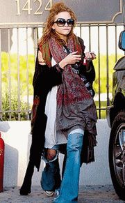 Mary Kate Olsen Boho Homeless Outfit  NOT a good look in your 50's...