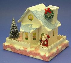 Building a Bay Window House (Pattern & directions included) Paper Christmas Decorations, Christmas Paper, All Things Christmas, Christmas Home, Vintage Christmas, Christmas Holidays, Christmas Crafts, Christmas Glitter, Christmas Village Houses