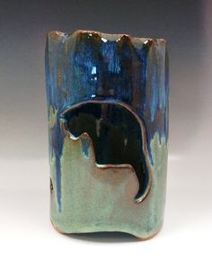 Ceramic Cat Cookie Cutter Luminary in Cascading Blues and Greens by Lakeside Pottery and Glass. American Made. See the designer's work at the 2016 American Made Show, Washington DC. January 15-17, 2016. americanmadeshow.com #americanmade, #americanmadeshow, #ceramic, #pottery, #luminary, #cat