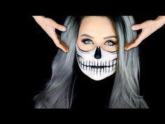10 Spooky Makeup Looks for the Halloween Fanatic Half Skull Face Paint, Half Skull Makeup, Skeleton Face Paint, Skeleton Makeup, Alien Halloween Makeup, Halloween Ideas, Halloween Stuff, Halloween Halloween, Vintage Halloween