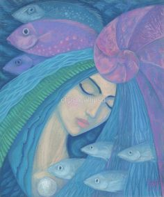 """""""The Pearl"""".  Beautiful mermaid princess with blue hair dreaming of something, blue, pink and violet fishes floating besides her. Blue, pink and mint colors.  Surreal art, underwater fantasy, pastel painting. Soft pastels on paper, 50 x 60 cm (20"""" x 24""""), 2015 © Clipso-Callipso / Julia Khoroshikh"""