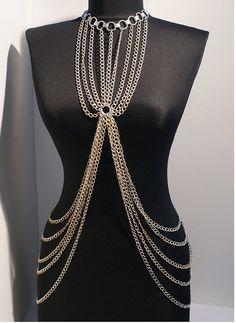 silver body chain necklace body chain jewelry door BeyhanAkman
