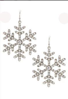 Large Rhinestone Accent Snowflake Dangle Earring - Sassy Foxe - 1