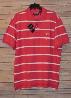 66d506ff8cb Mens Chaps Golf Polo Sports Shirt XL Stretch Raspberry   White Stripe Chest  Logo for sale online