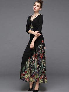 [ad] Add some drama with the Black Floral Print Paneled Design Maxi Dress.