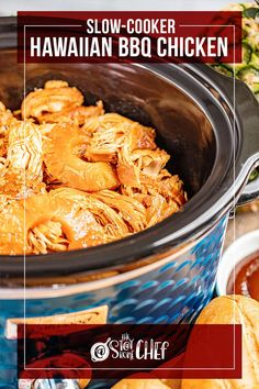 Slow Cooker Hawaiian Barbecue Chicken is made with a quick homemade sauce and can be enjoyed whole or shredded for a delicious BBQ chicken sandwich. It takes less than 10 minutes to get this into the slow cooker so you can set it and forget it! Make sure to give it a try! Bbq Chicken Sandwich, Barbecue Chicken, Homemade Bbq, Homemade Sauce, Slow Cooker Bbq, Slow Cooker Recipes, Hawaiian Bbq, Yummy Chicken Recipes, Best Dinner Recipes