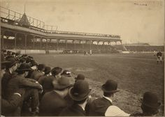 1903, first WS, Game 4, Pittsburgh at bat. The Pirates would win it 5-4, despite a furious 3-run rally by the Red Sox in the 9th, to go up in the best of eight series 3 games to 1, with Honus Wagner collecting 3 hits. Unfortunately for the locals, Boston would take the next FOUR games, three in a row at Exposition Park, and then Game 8 at the Huntington Avenue Grounds to take the first ever World's Series title, 5 games to 3.