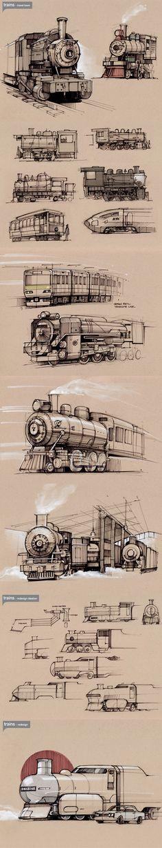 Summer 2011 Sketches 8 - trains — Minimally Minimal