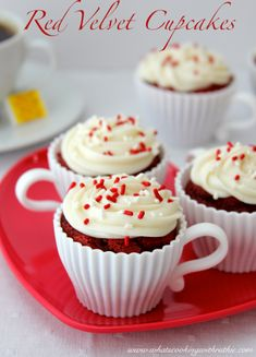Red Velvet Cupcakes are the perfect way to say I love you!  @whatscookingwithruthie.com #recipes #cupcakes #valentines