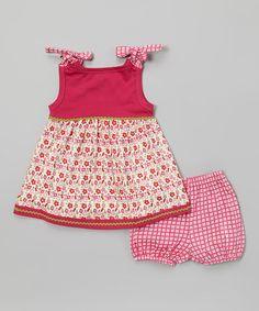 Look at this My O Baby Hot Pink Floral Organic Dress