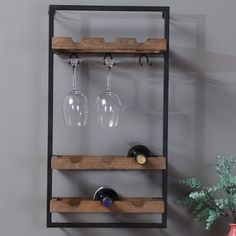 Williston Forge Orla 9 Bottle Wall Mounted Wine Bottle and Glass Rack Hanging Wine Glass Rack, Wine Glass Shelf, Wine Shelves, Wine Rack Wall, Wine Storage, Crate Shelves, Record Storage, Glass Shelves, Wine Bottle Storage Ideas
