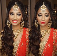 Gorgeous Indian bridal makeup and hairstyle. Coral lips. Smokey eye makeup. Maang tikka. Cascading curls. Pinterest: @pawank90