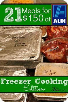 Are you sick and tired to thinking what to cook for dinner every night? Let me help you with his Freezer Cooking meal plan! Make 21 delicious freezer meals in under 3 hours for only $150.00 at Aldi! Just assemble and you have dinners for the next three weeks! Beef, Meals, Food, Meat, Power Supply Meals, Ox, Meal, Eten, Hoods