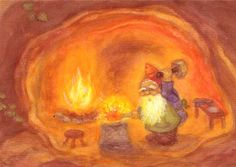 Ansichtkaart Dwerg aan het smeden (Heike Stinner) - Liever Spelen - Houten speelgoedwinkel Fall Pictures, Pictures To Draw, Chalkboard Drawings, Nature Spirits, Crayon Art, Felt Art, Gnomes, Home Art, Art For Kids