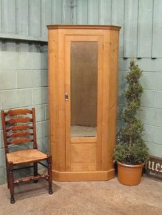 Antique Victorian Waxed Pine Corner Wardrobe c1880