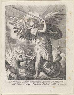 Raphaël Sadeler (I) | Aartsengel Michaël doodt de draak, Raphaël Sadeler (I), Raphaël Sadeler (II), 1617 | De aartsengel Michaël met zwaard en schild. Hij vertrapt de draak.