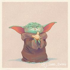 Baby Yoda Eats Star Wars Fan Art A cute series of fan illustrations by artist J. Shari Ewing picturing The Child, aka Baby Yoda, as he eats Disney snacks. Disney Drawings, Cute Drawings, Yoda Drawing, Cuadros Star Wars, Disney Snacks, Star Wars Baby, Star Wars Fan Art, Polychromos, Star Wars Humor