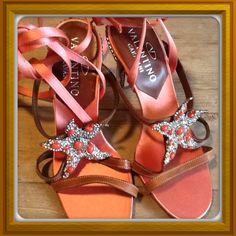 2X HOST PICKValentino starfish sandals Valentino Starfish ankle wrap sandals with beautiful crystal and coral studded heels; they have never been worn outside of trying them on at the store and for these pics; note there are screws on either side of the heels; not noticeable when wearing; they were purchased this way; these are exceptional shoes Valentino Shoes Sandals