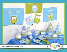 owl baby boy DIY printable Birthday or Baby Shower by Solpashop
