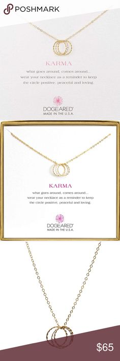 """New Dogeared Triple Karma Necklace, Gold & Silver Celebrate the beauty of karma with the stylish Dogeared Karma Triple Ring Gold Dipped Necklace. This Dogeared necklace features three gold dipped circles that measure 1/2"""". Each circle represents how karma goes around and comes around. The gold karma necklace meaures 1.85 grams and is delivered in a card with a message that reads, """"What goes around, comes around...wear your necklace as a reminder to keep the circle positive, peaceful and…"""