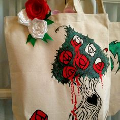 The queen wants her roses red!!  Crystalized Ginger Designs.. Custom, hand painted and wickedly cute canvas totes..