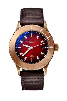 Swiss made luxury watch for men designed by Fabian Schwaerzler and handcrafted in Zurich by Maurice de Mauriac. Water resistant: 300 meters #swissmadeluxurywatches #luxurywatches #watchesformen #luxurywatchesformen