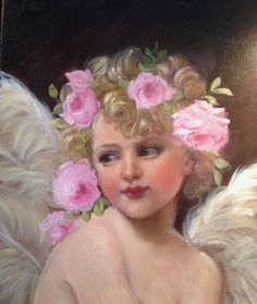 BARNES OIL PAINTING ANTIQUE VINTAGE STYLE PORTRAIT GIRL ANGEL CHERUB PINK ROSES