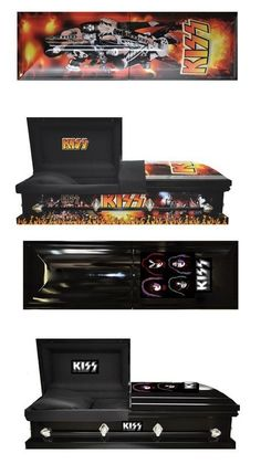 Kiss casket for the true Kiss fan. Kiss Army, Funeral Jokes, Kiss Memorabilia, Kiss Merchandise, Funeral Caskets, Vintage Kiss, Funeral Planning, Kiss Band, Hot Band