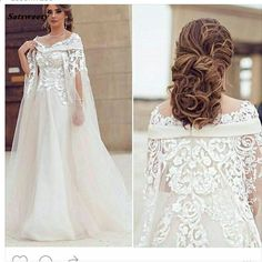Fashion Scoop Appliqued Pärlstav Lace Short Sleeve Vestidos De Festa En  Line Prom Med Cape Bridal Gown Mor Of The Bride Dress. Wedding Party  DressesBling ... 31187090da74