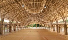 سالن ورزشی که کاملا از بامبو ساخته شده است 