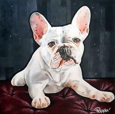Acrylique/peinture/contemporain/peinture/réalisme/tableau/ acrylique/chien/animaux/frenchbouledogue/ illustration/graphisme/paint/60x60cm /art/artiste/poppix French Bulldog, Illustration, Dogs, Acrylic Board, Graphic Design, Dog, Toile, Animaux, Painted Canvas