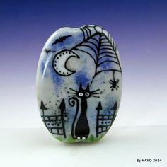 """THE GATE KEEPER"" byKAYO a Handmade HAUNTED CAT Lampwork Glass Focal Bead SRA #Lampwork"