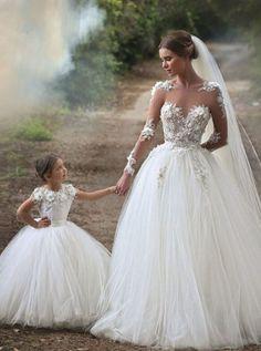 Glamorous A-Line Bateau Long Sheer Sleeves Flowers Wedding Dress