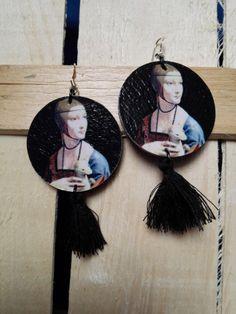 Orecchini handmade in legno Venere di Botticelli di NeverEndBijoux su Etsy