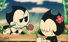 Bendy and Becky ...wooow.... I made this! XD Is... Is like what I want it to be the draw QwQ GYAAAAH I'M SO HAPPY