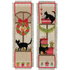 """Christmas Atmosphere Bookmarks On Aida Counted Cross Stitch -2.5""""X8"""" 14 Count Set Of 2"""