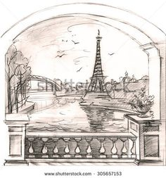 Fantasy hand drawn sketch with landscape and Eiffel tower. Graphic drawing. View from the arch to urban landscape.