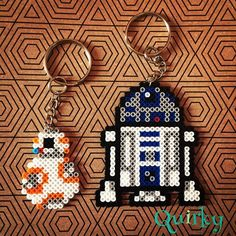 BB-8 and R2D2 Star Wars keyrings mini perler beads by quirkybynr