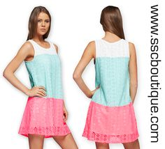 How adorable is our Laced Color Blocked Tank Tunic Dress? The perfect spring hues to stand out in the crowd! Only $36.50! S,M,L! http://www.sscboutique.com/collections/new-arrivals/products/laced-color-blocked-dress #colorblock #springdresses #tankdress #ootd